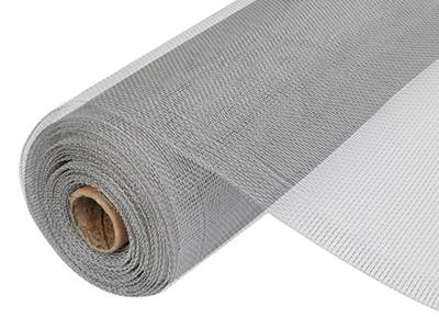 A roll of aluminum insect mesh with wrapped edge on the white background.