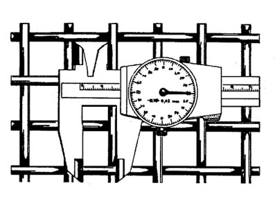 This picture shows measuring five individual apertures by using the dial gauge calliper.