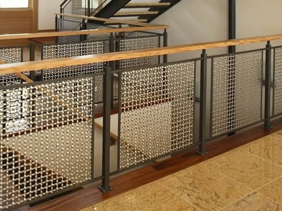 Crimped wire mesh sheets are installed on corridor side and stairs side.