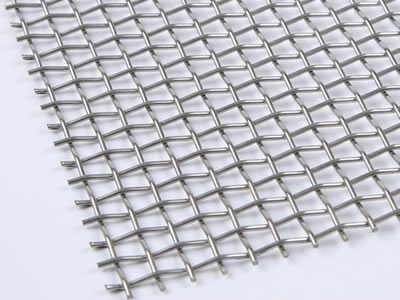 There is a square hole stainless steel crimped wire mesh sheet.