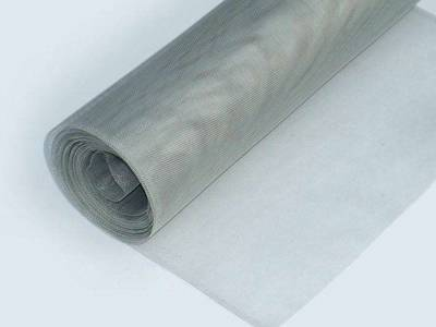 A roll of stainless steel mosquito netting on the white background.