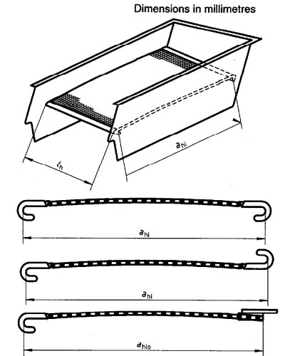 Screening surfaces can be tensioned by hook strips, to the direction of the flow of the material being screened, the dimension of the screening surface between hook strips is designated as bn0 for side tensioning with upward bent hook strips, and between the outside of the hook strip and the inside of the side plate a space of between 10 mm and 15 mm is necessary.