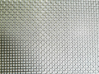 There is a tantalum wire mesh sheet with square holes.