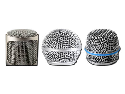 There are three microphone covers made of woven titanium screen.