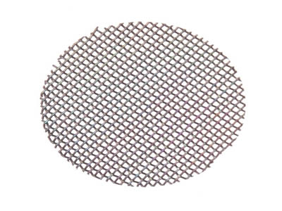 There is a titanium mesh smoking filter disc with square holes.