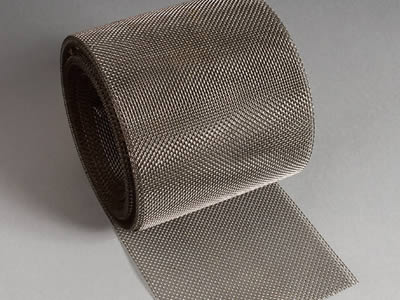 There is a titanium wire mesh with square holes.